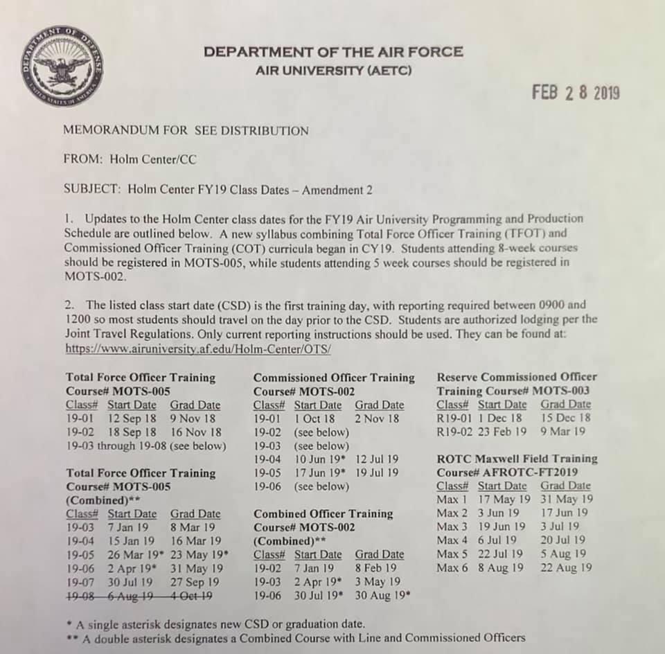 FY2019 TFOT Schedule – Air Force Journey